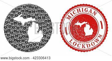 Vector Mosaic Michigan State Map Of Locks And Grunge Lockdown Seal Stamp. Mosaic Geographic Michigan