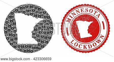 Vector Mosaic Minnesota State Map Of Locks And Grunge Lockdown Seal Stamp. Mosaic Geographic Minneso