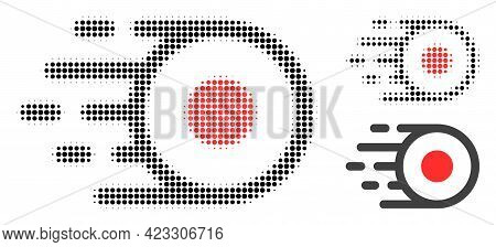 Core Flight Halftone Dotted Icon. Halftone Pattern Contains Circle Elements. Vector Illustration Of