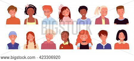 Happy Kid Profile Avatar For Social Media Or Blog Account, School Children Smiling Set