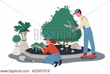 People Gardeners Work In Garden Or Park, Prune Plants, Workers Pruning, Trimming Shrub