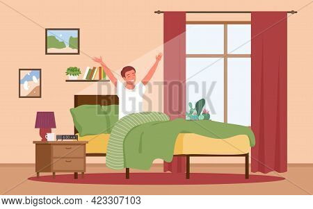 Guy Waking Up In Sunrise Early Morning After Night Rest, Happy Boy Awaking In Sun