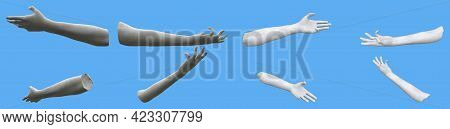 Set Of White Stone Statue Hand Renders Isolated On Blue, Lights And Shadows Distribution Example For