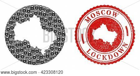 Vector Mosaic Moscow Region Map Of Locks And Grunge Lockdown Seal. Mosaic Geographic Moscow Region M