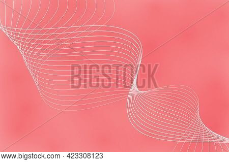 Abstract Background With Curved Wavy Lines. Vector Illustration For Design. Wave From Line And Red S