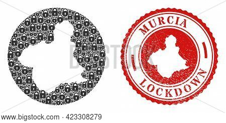 Vector Mosaic Murcia Province Map Of Locks And Grunge Lockdown Seal Stamp. Mosaic Geographic Murcia