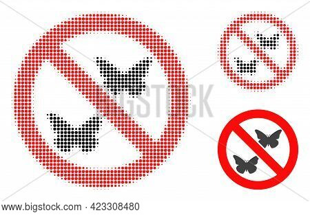 Forbidden Butterflies Halftone Dotted Icon. Halftone Array Contains Round Dots. Vector Illustration
