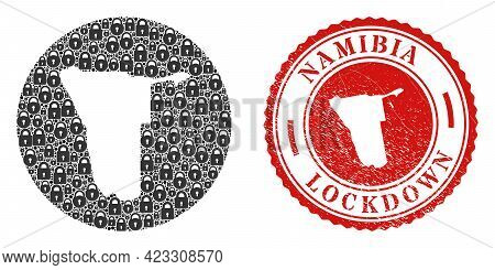 Vector Mosaic Namibia Map Of Locks And Grunge Lockdown Seal Stamp. Mosaic Geographic Namibia Map Cre