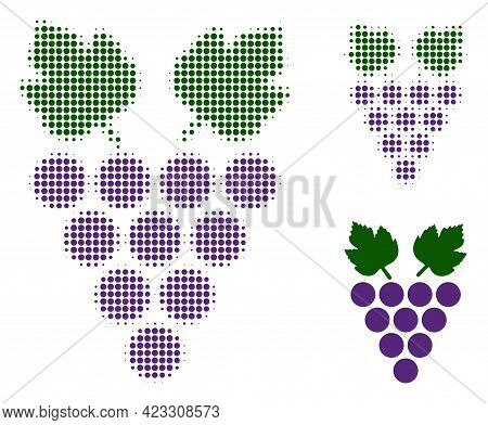 Grape Halftone Dotted Icon. Halftone Pattern Contains Circle Elements. Vector Illustration Of Grape