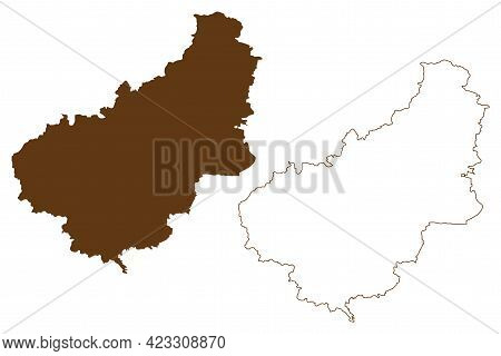 Eichsfeld District (federal Republic Of Germany, Rural District, Free State Of Thuringia) Map Vector