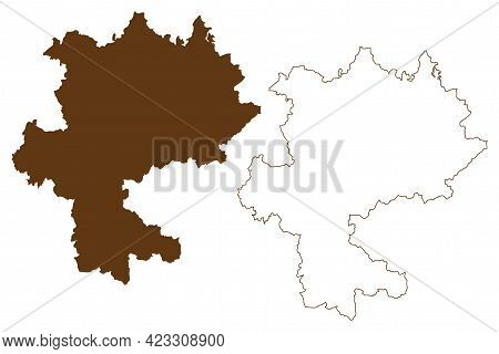 Hildburghausen District (federal Republic Of Germany, Rural District, Free State Of Thuringia) Map V