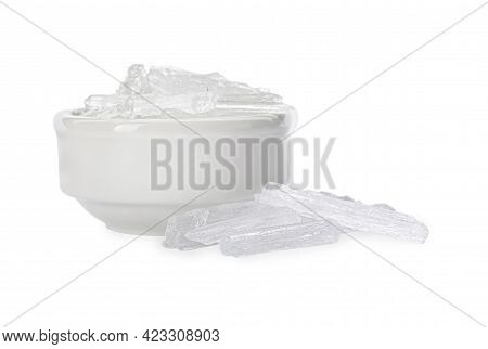 Menthol Crystals In Bowl On White Background