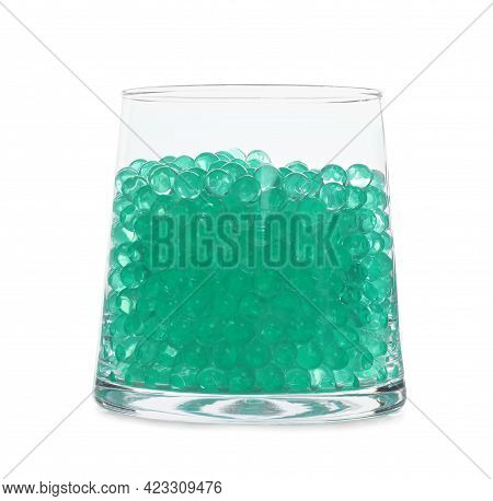 Mint Filler In Glass Vase Isolated On White. Water Beads
