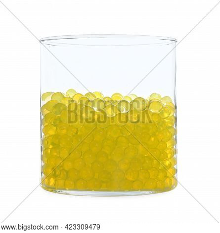 Yellow Filler In Glass Vase Isolated On White. Water Beads