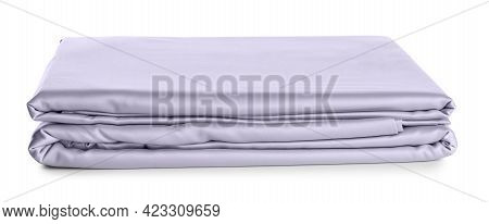 Stack Of Clean Silky Bed Linen Isolated On White