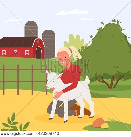 Kid And Farm Animal, Summer Holidays At Village Countryside, Girl Hugging Cute Baby Goat