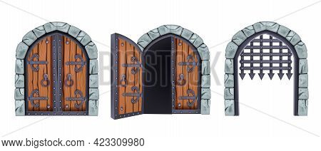 Vector Castle Gate Set, Medieval Wooden Closed And Open Double Door, Iron Grate, Stone Arch. Palace