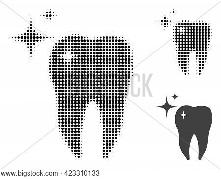 Excellent Tooth Halftone Dotted Icon. Halftone Array Contains Round Pixels. Vector Illustration Of E