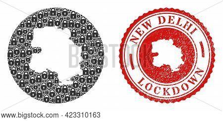 Vector Mosaic New Delhi City Map Of Locks And Grunge Lockdown Seal Stamp. Mosaic Geographic New Delh