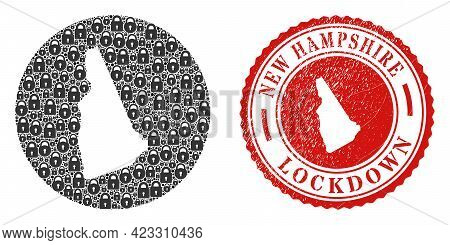 Vector Mosaic New Hampshire State Map Of Locks And Grunge Lockdown Stamp. Mosaic Geographic New Hamp