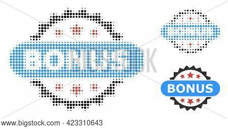 Bonus Tag Halftone Dotted Icon. Halftone Array Contains Round Dots. Vector Illustration Of Bonus Tag
