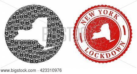Vector Collage New York State Map Of Locks And Grunge Lockdown Seal. Mosaic Geographic New York Stat
