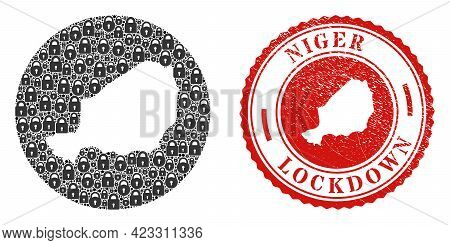 Vector Mosaic Niger Map Of Locks And Grunge Lockdown Seal Stamp. Mosaic Geographic Niger Map Designe