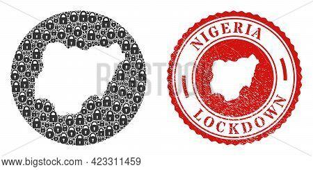 Vector Mosaic Nigeria Map Of Locks And Grunge Lockdown Seal Stamp. Mosaic Geographic Nigeria Map Con