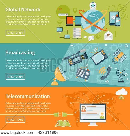 Telecommunication Horizontal Banners With Information About Global Network Elements Broadcasting Equ