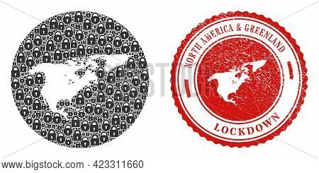 Vector Mosaic North America And Greenland Map Of Locks And Grunge Lockdown Stamp. Mosaic Geographic