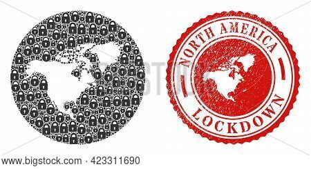Vector Mosaic North America Map Of Locks And Grunge Lockdown Seal Stamp. Mosaic Geographic North Ame