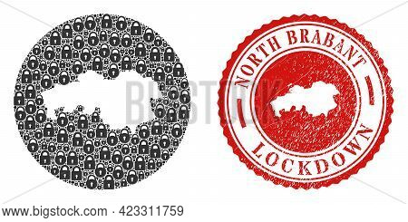 Vector Collage North Brabant Province Map Of Locks And Grunge Lockdown Stamp. Mosaic Geographic Nort