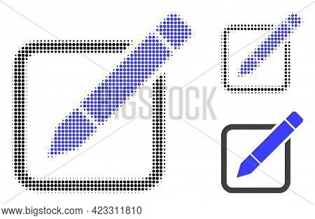 Edit Pencil Halftone Dotted Icon. Halftone Array Contains Circle Elements. Vector Illustration Of Ed