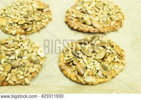Delicious Biscuits Made From Seeds And Honey. Vegan Sunflower And Pumpkin Seed Biscuits. Background