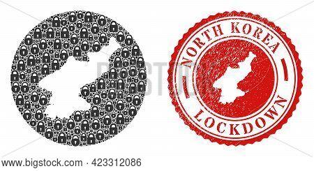 Vector Mosaic North Korea Map Of Locks And Grunge Lockdown Seal. Mosaic Geographic North Korea Map C