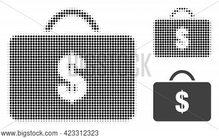 Business Case Halftone Dotted Icon. Halftone Array Contains Circle Points. Vector Illustration Of Bu