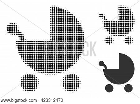Baby Carriage Halftone Dotted Icon. Halftone Pattern Contains Round Points. Vector Illustration Of B
