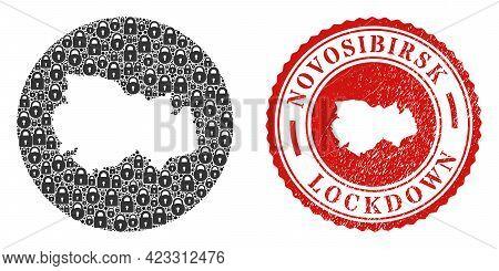 Vector Mosaic Novosibirsk Region Map Of Locks And Grunge Lockdown Stamp. Mosaic Geographic Novosibir