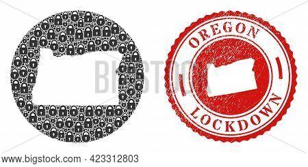 Vector Mosaic Oregon State Map Of Locks And Grunge Lockdown Seal Stamp. Mosaic Geographic Oregon Sta