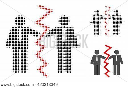 Businessmen Divorce Halftone Dotted Icon. Halftone Array Contains Round Points. Vector Illustration