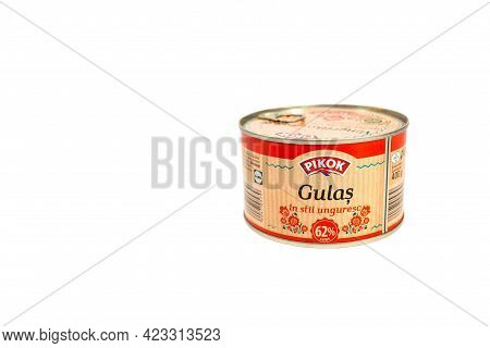 Miercurea Ciuc, Romania- 10 June 2021: Pikok, Lidl Brand Hungarian Goulash In Tin Can Isolated On Wh