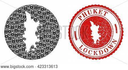 Vector Mosaic Phuket Map Of Locks And Grunge Lockdown Seal Stamp. Mosaic Geographic Phuket Map Desig