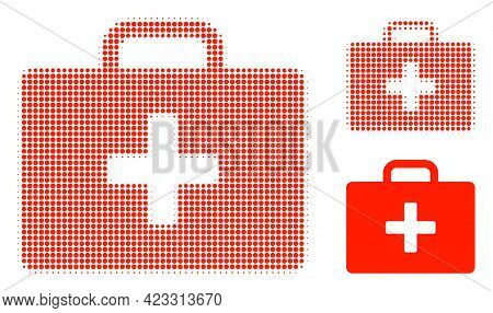 Medical Kit Case Halftone Dotted Icon. Halftone Pattern Contains Round Dots. Vector Illustration Of