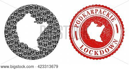Vector Mosaic Podkarpackie Voivodeship Map Of Locks And Grunge Lockdown Seal Stamp. Mosaic Geographi