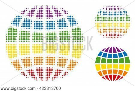 Lgbt Globe Halftone Dotted Icon. Halftone Pattern Contains Round Dots. Vector Illustration Of Lgbt G