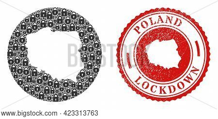 Vector Mosaic Poland Map Of Locks And Grunge Lockdown Seal. Mosaic Geographic Poland Map Designed As
