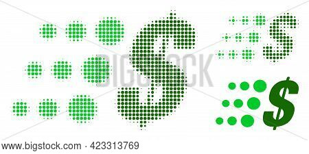 Fast Dollar Halftone Dotted Icon. Halftone Pattern Contains Round Points. Vector Illustration Of Fas