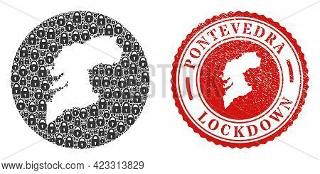 Vector Mosaic Pontevedra Province Map Of Locks And Grunge Lockdown Seal Stamp. Mosaic Geographic Pon