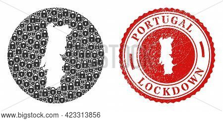 Vector Mosaic Portugal Map Of Locks And Grunge Lockdown Seal Stamp. Mosaic Geographic Portugal Map C