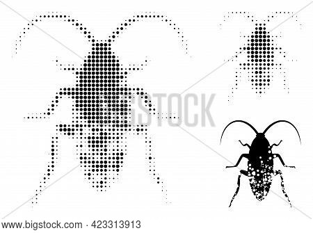 Damaged Cockroach Halftone Dotted Icon. Halftone Array Contains Round Pixels. Vector Illustration Of